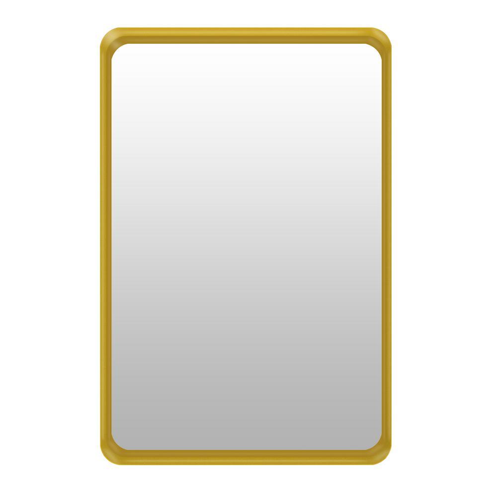Jon Horizontal and Vertical Metal Mirror 26 in. W x 38 in. H Framed Rectangular Bathroom Vanity Mirror in Gold