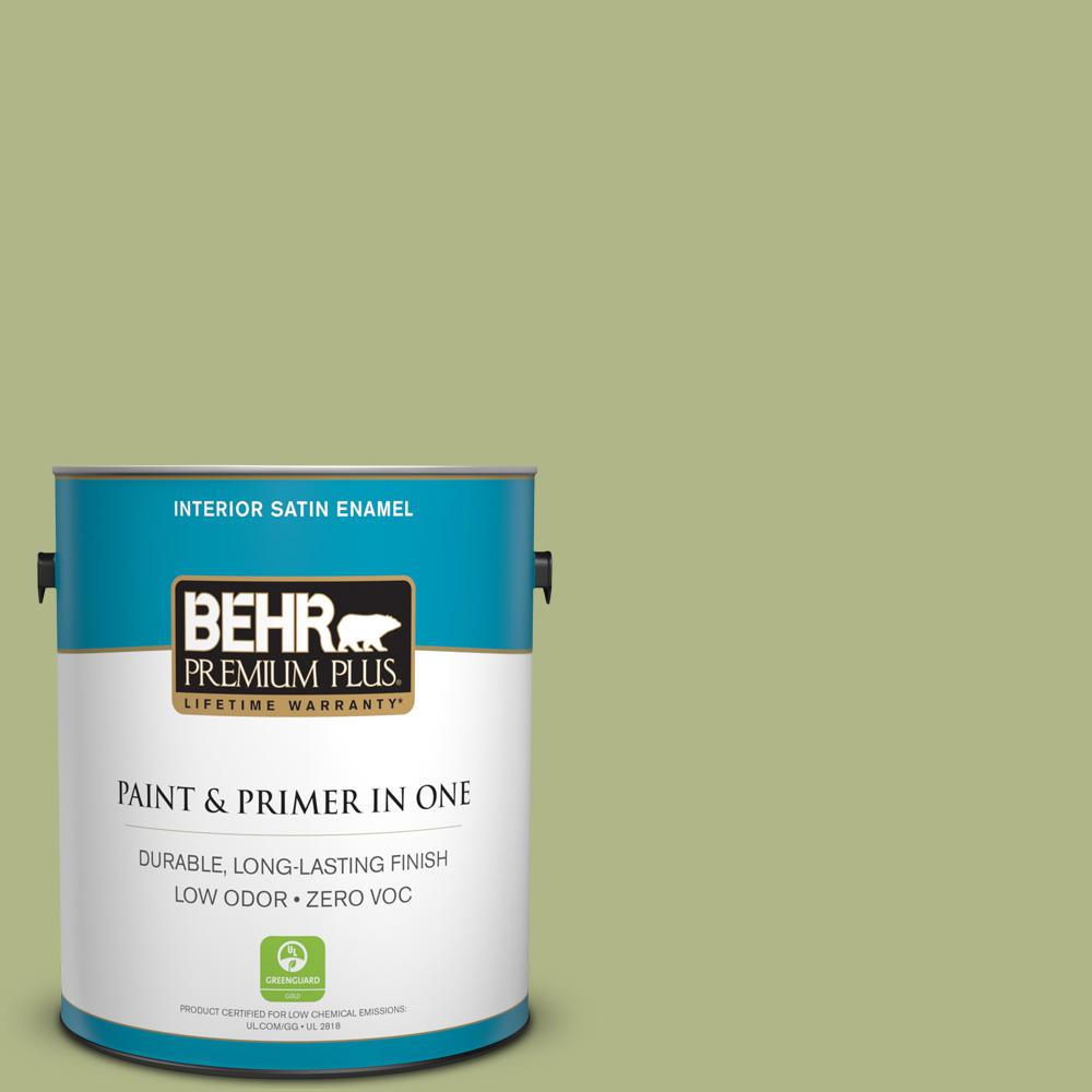 1 gal. #PPU10-07 Lima Green Zero VOC Satin Enamel Interior Paint