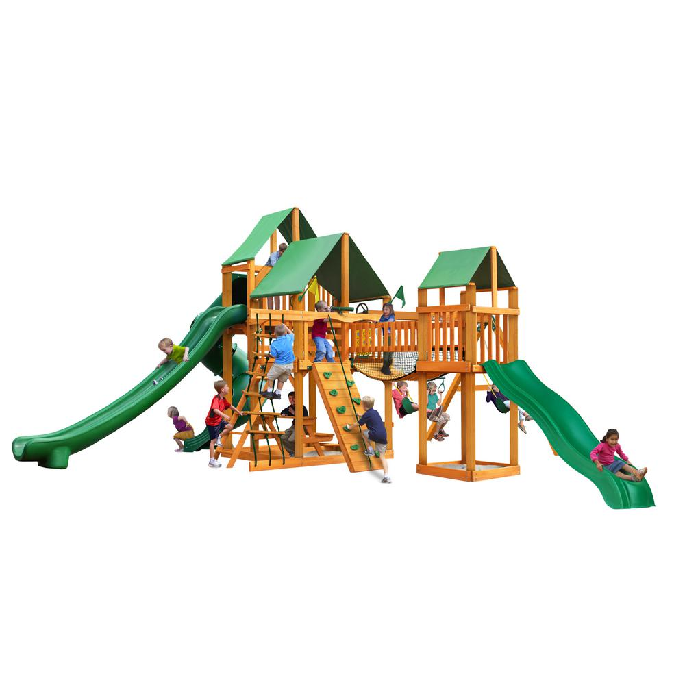 Gorilla Playsets Treasure Trove II Wooden Swing Set with Green Vinyl Canopy and 3 Slides