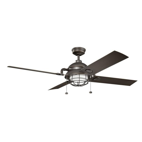 Maor Patio 65 in. Integrated LED Indoor Olde Bronze Downrod Mount Ceiling Fan with Light Kit