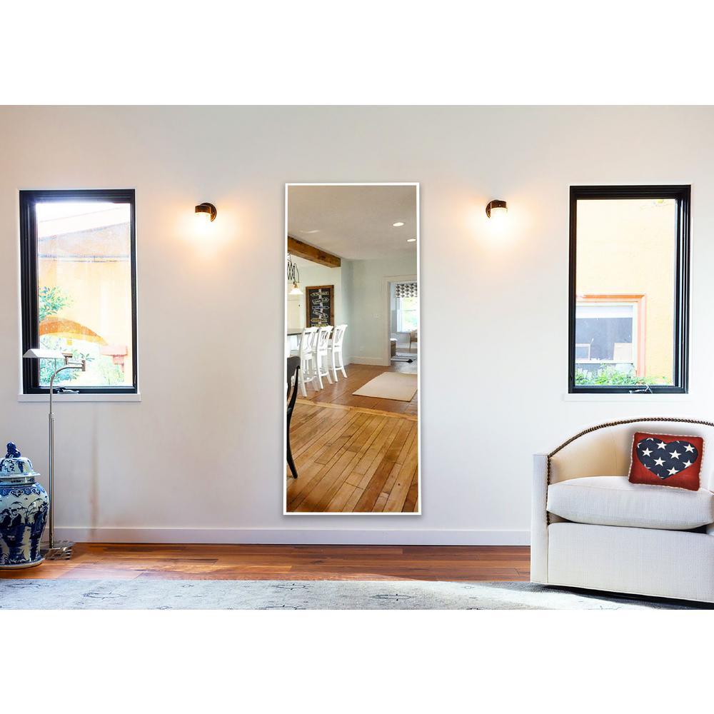 54.4375 in. x 15.4375 in. Brite White Tall Mirror