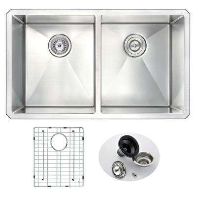 VANGUARD Series Undermount Stainless Steel 32 in. 0-Hole Double Bowl Kitchen Sink