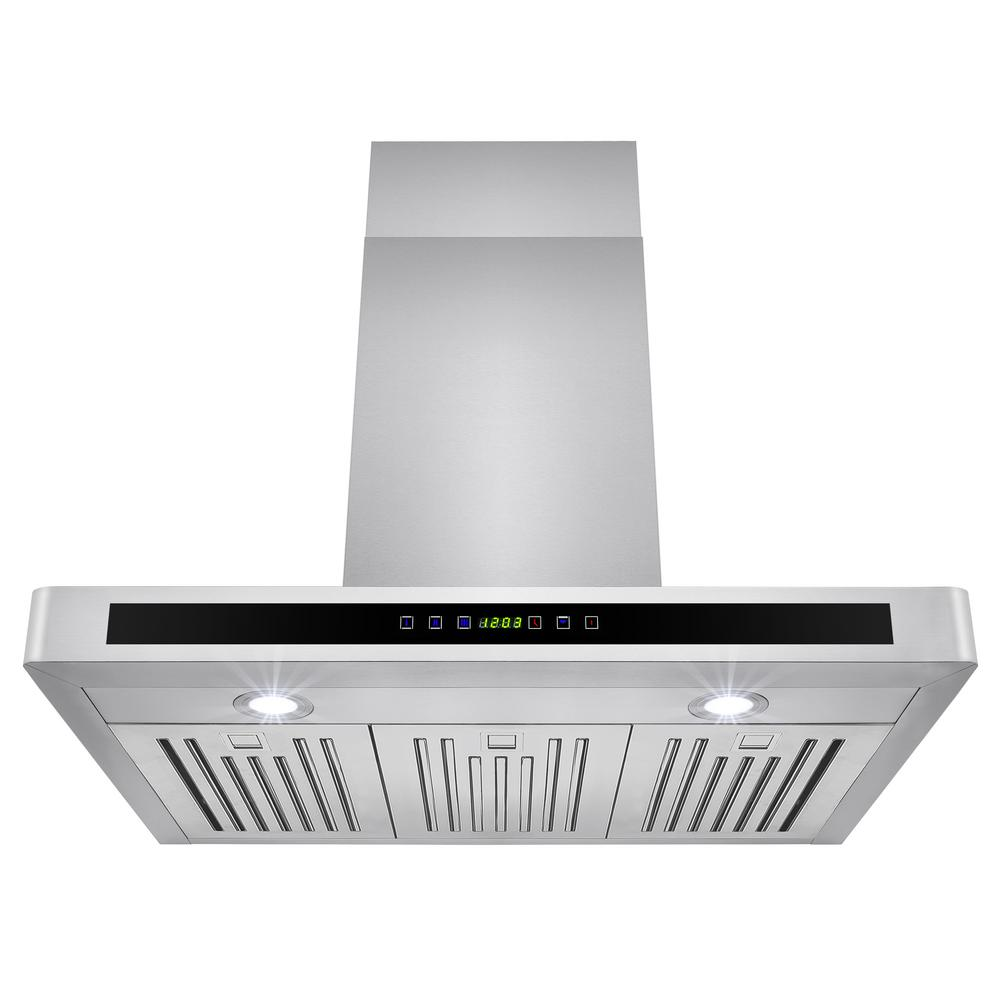 Convertible kitchen wall mount range hood in stainless steel with leds and touch control rh0124 the home depot