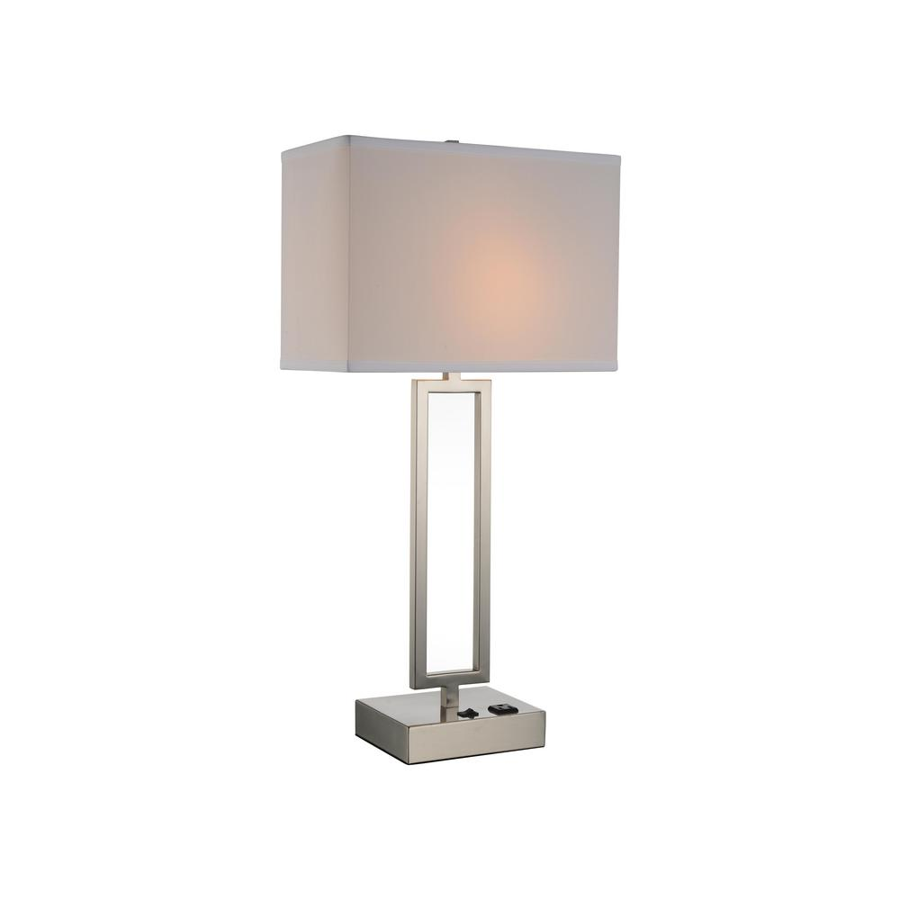 Satin Nickel Table Lamp With White Shade