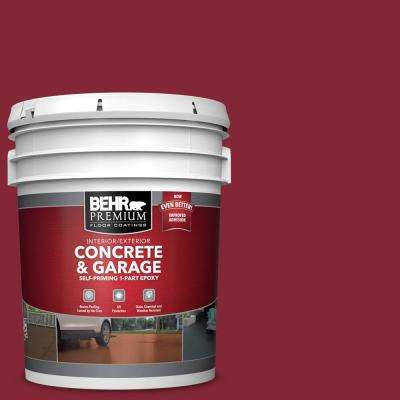5 gal. #M140-7 Dark Crimson Self-Priming 1-Part Epoxy Satin Interior/Exterior Concrete and Garage Floor Paint
