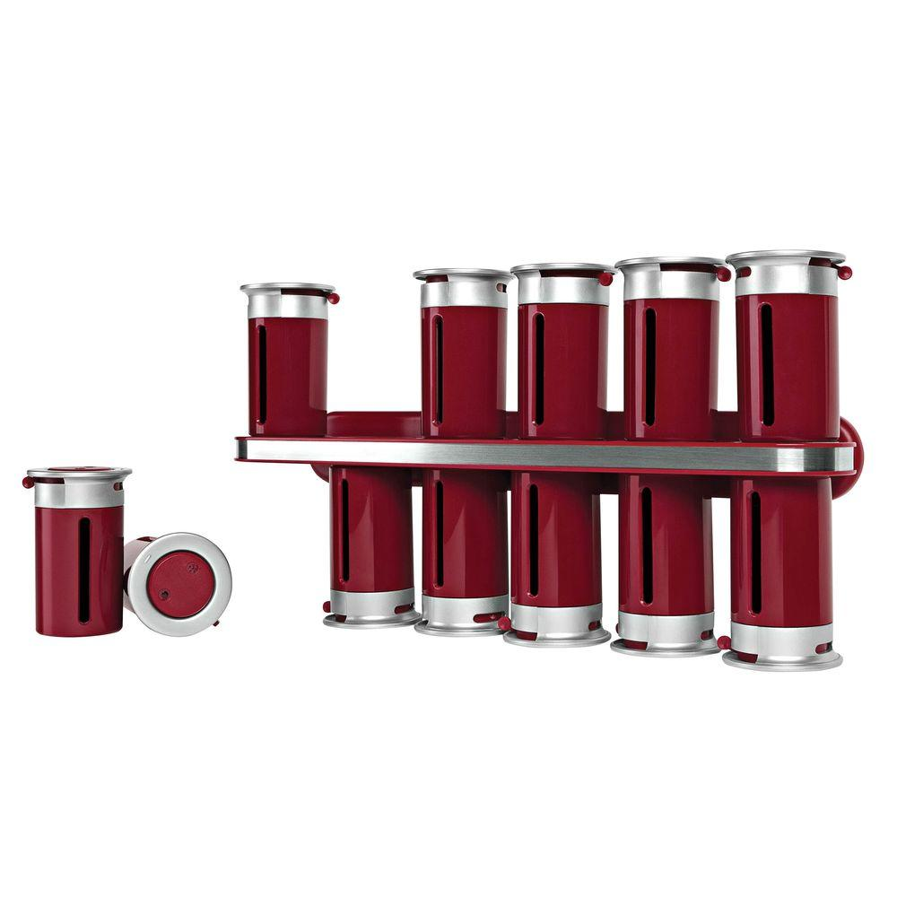 Honey Can Do Zero Gravity 12 Canister Wall Mount Magnetic E Rack In Red Silver Kch 06103 The Home Depot