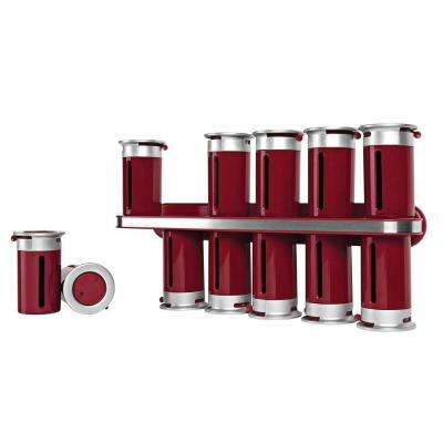 Zero Gravity 12-Canister Wall-Mount Magnetic Spice Rack in Red/Silver
