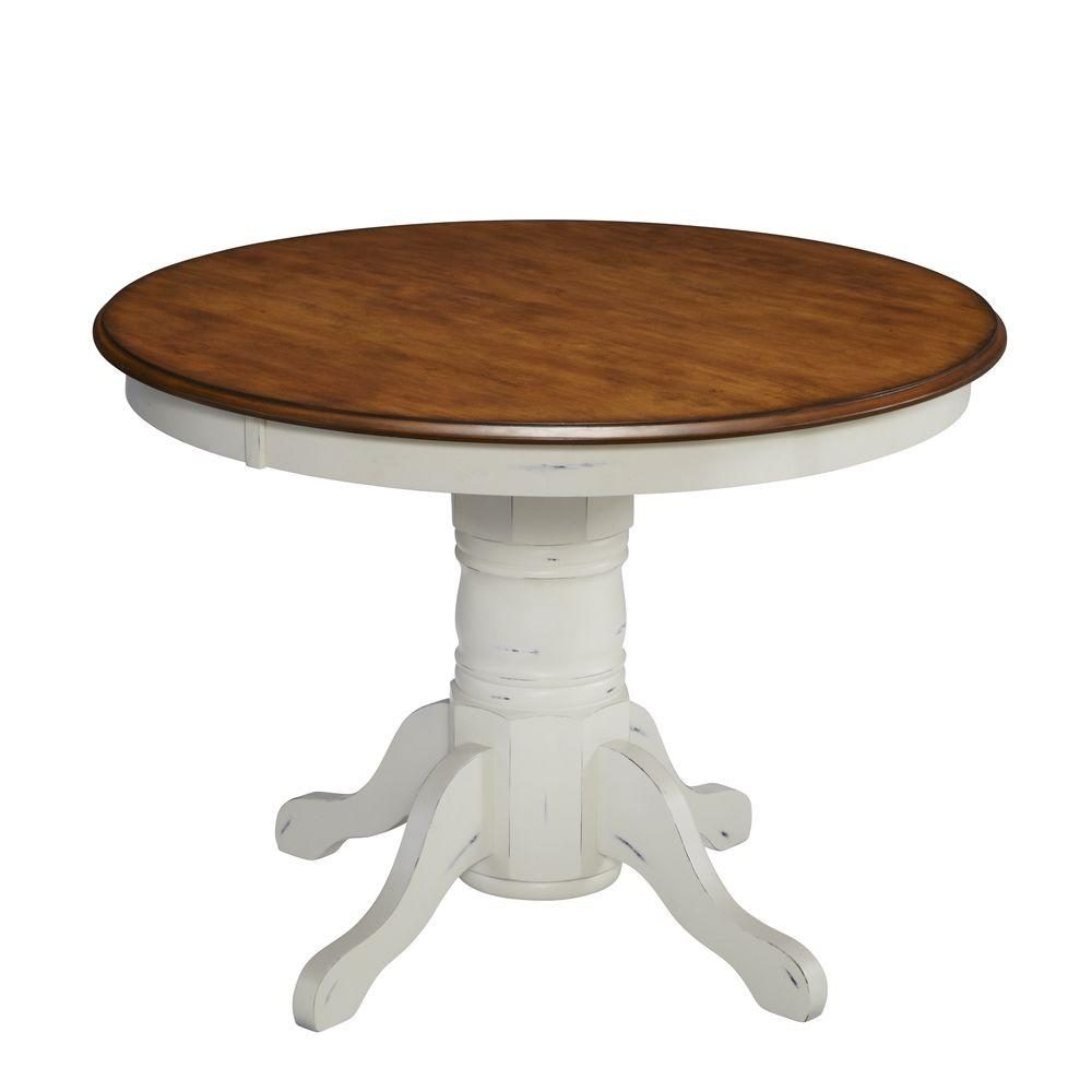French Countryside Oak and Rubbed White Dining Table