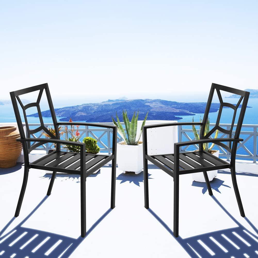 Nuu Garden Stacking Wrought Iron Outdoor Patio Bistro Chair (2-pk)