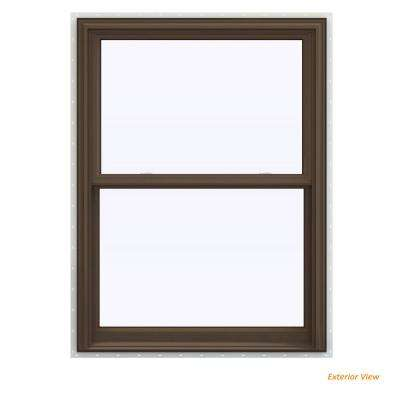 35.5 in. x 53.5 in. V-2500 Series Brown Painted Vinyl Double Hung Window with BetterVue Mesh Screen