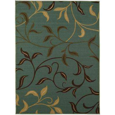 Ottohome Collection Contemporary Leaves Design Aqua Blue 5 Ft. X 6 Ft. 6 In