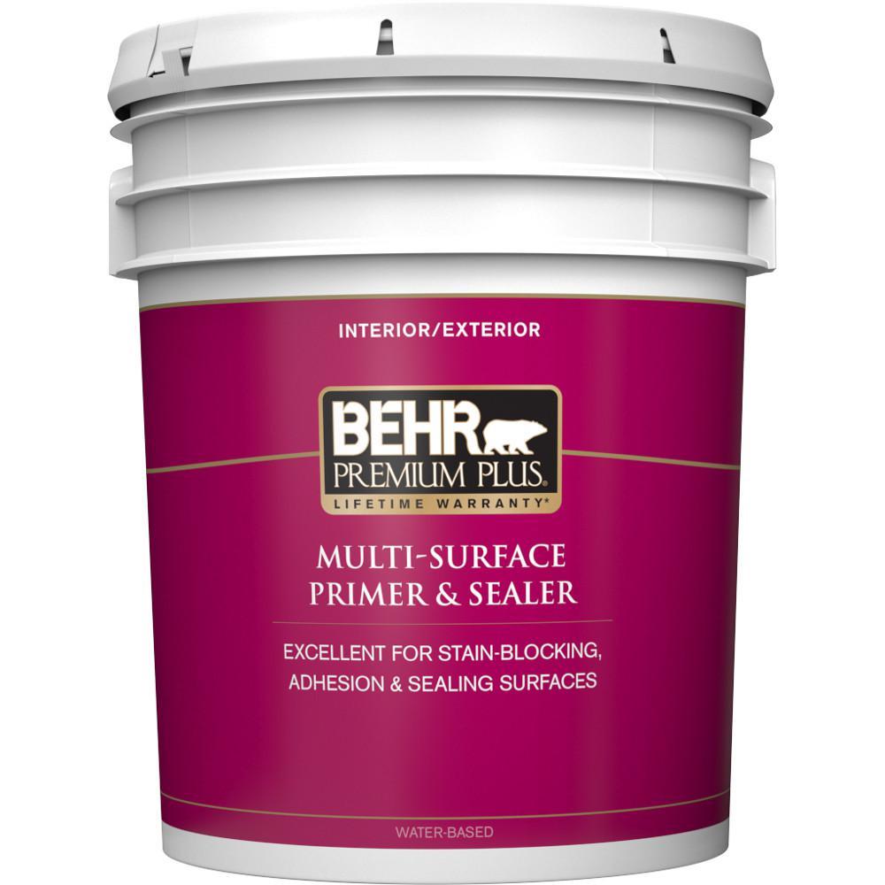 BEHR Premium Plus 5 gal. White Acrylic Interior/Exterior Multi-Surface Primer and Sealer