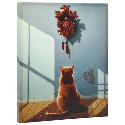 """""""A Timely Lunch"""" Graphic Art Print on Wrapped Canvas Cat Pet Wall Art"""