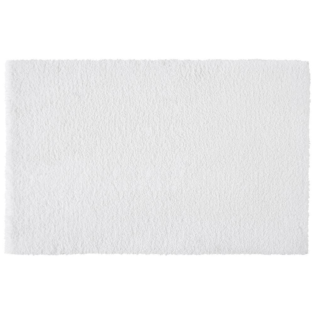 White 17 in. x 25 in. Non-Skid Cotton Bath Rug
