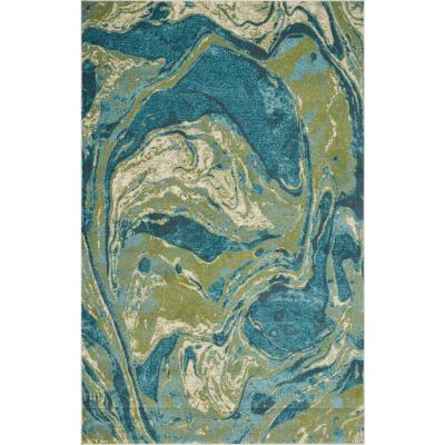 Watercolors Teal Geode 8 ft. x 10 ft Area Rug