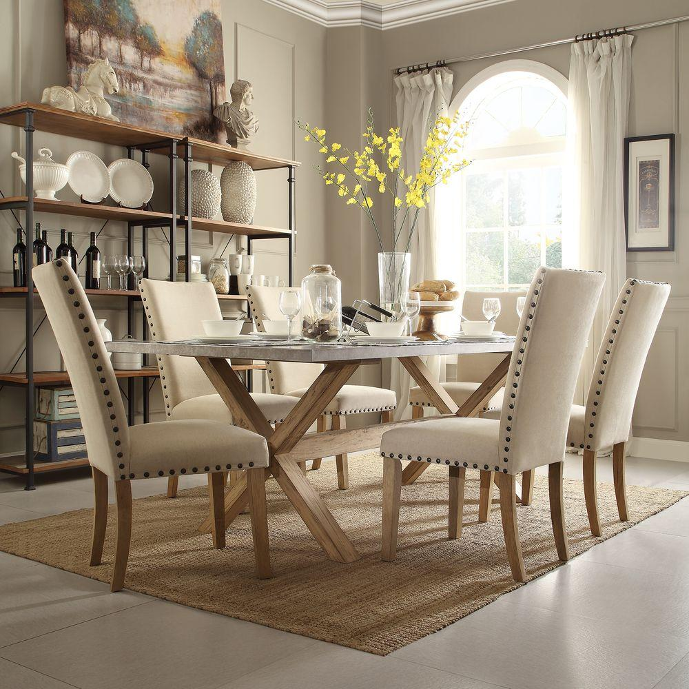 Rooms To Go Dining Sets: HomeSullivan Upton 7-Piece Weathered Light Oak Dining Set