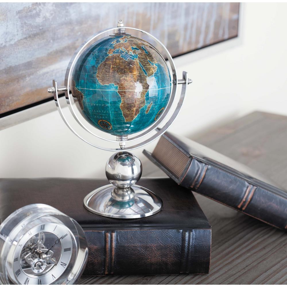 10 in. x 8 in. Modern Decorative Globe in Blue and Silver
