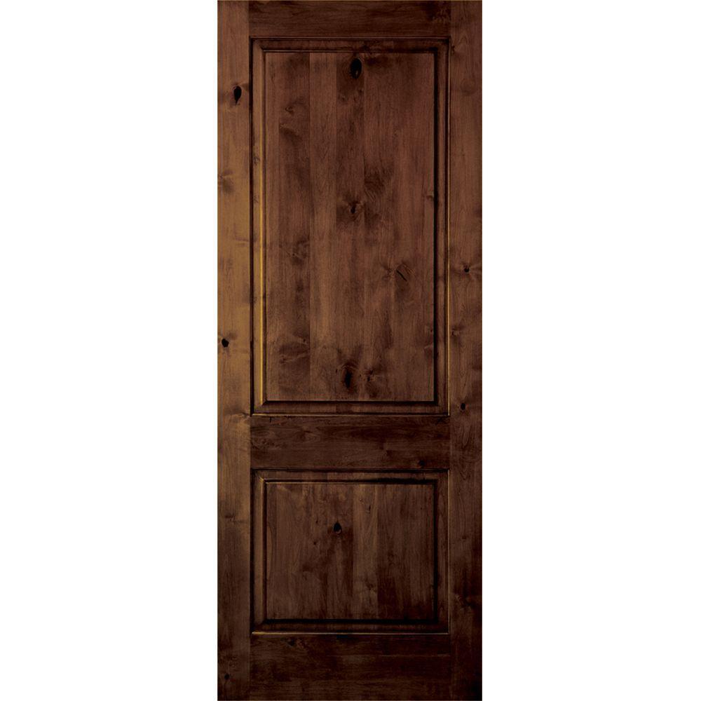 Krosswood Doors 18 in. x 96 in. Rustic Knotty Alder 2 Panel Square Top  sc 1 st  Home Depot & Krosswood Doors 18 in. x 96 in. Rustic Knotty Alder 2 Panel Square ...