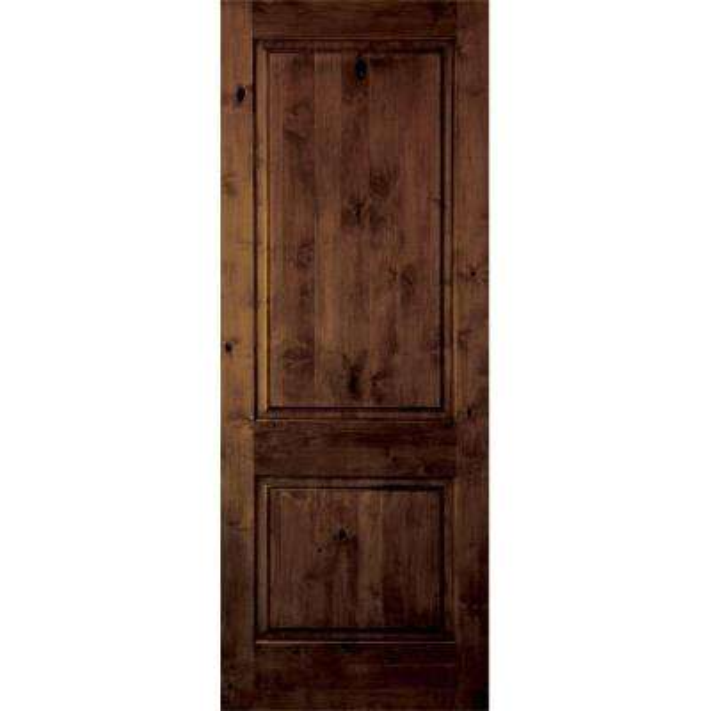 Beautiful Krosswood Rustic Knotty Alder 2 Panel Square Top Solid Core Prehung  Interior Door
