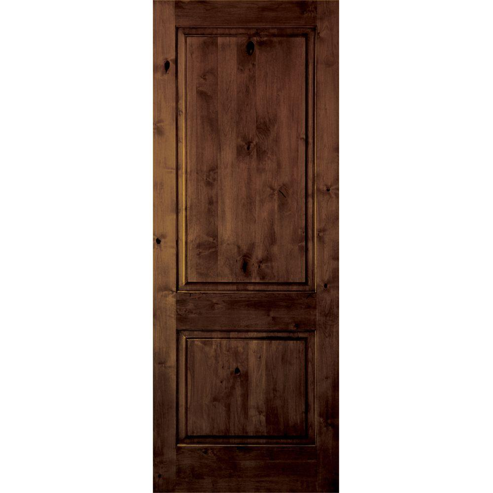 Krosswood doors 18 in x 80 in rustic knotty alder 2 panel square top solid wood left hand for Solid wood panel interior doors