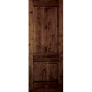 Krosswood Doors 18 In X 80 In Rustic Knotty Alder 2 Panel Square Top Solid Wood Left Hand
