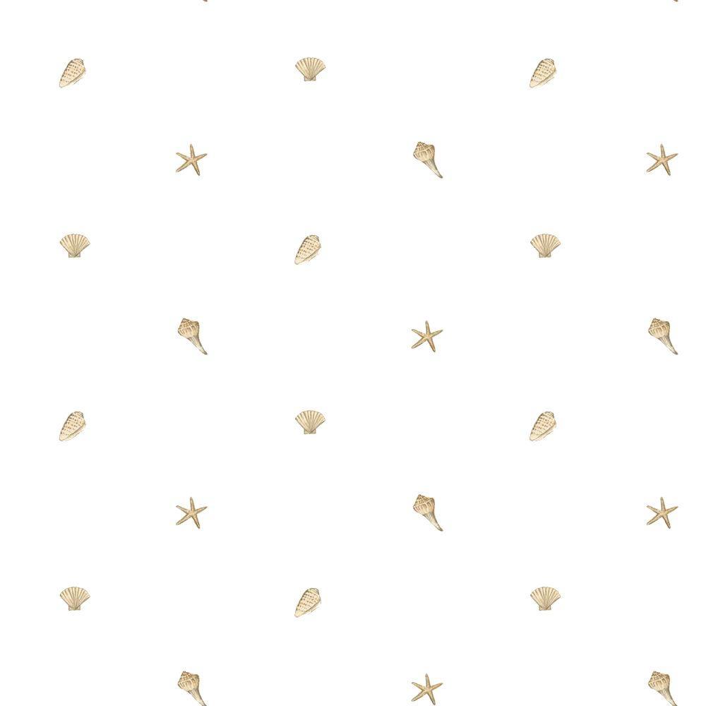 The Wallpaper Company 56 sq. ft. Neutral Starfish and Shells Wallpaper
