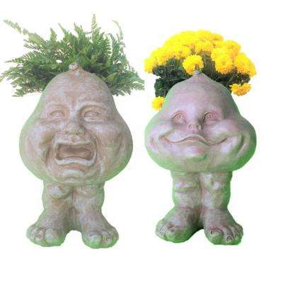 8.5 in. Stone Wash Crying Brother and Happy Baby The Muggly Face Statue Planter Holds 3 in. Pot