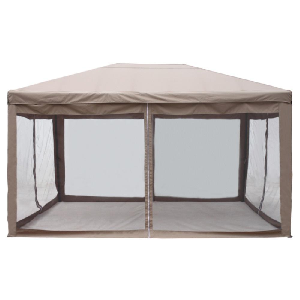 ALEKO 10 ft. x 13 ft. Brown Canopy Gazebo Canopy with Mesh ...