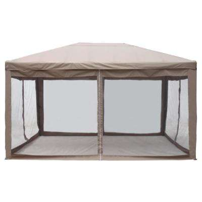 10 ft. x 13 ft. Brown Canopy Gazebo Canopy with Mesh Insect Screen