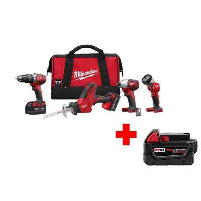 M18 18-Volt Lithium-Ion Cordless Hammer Drill/Hackzall/Impact Driver/Light Combo Kit (4-Tool) with Free 5.0Ah Battery