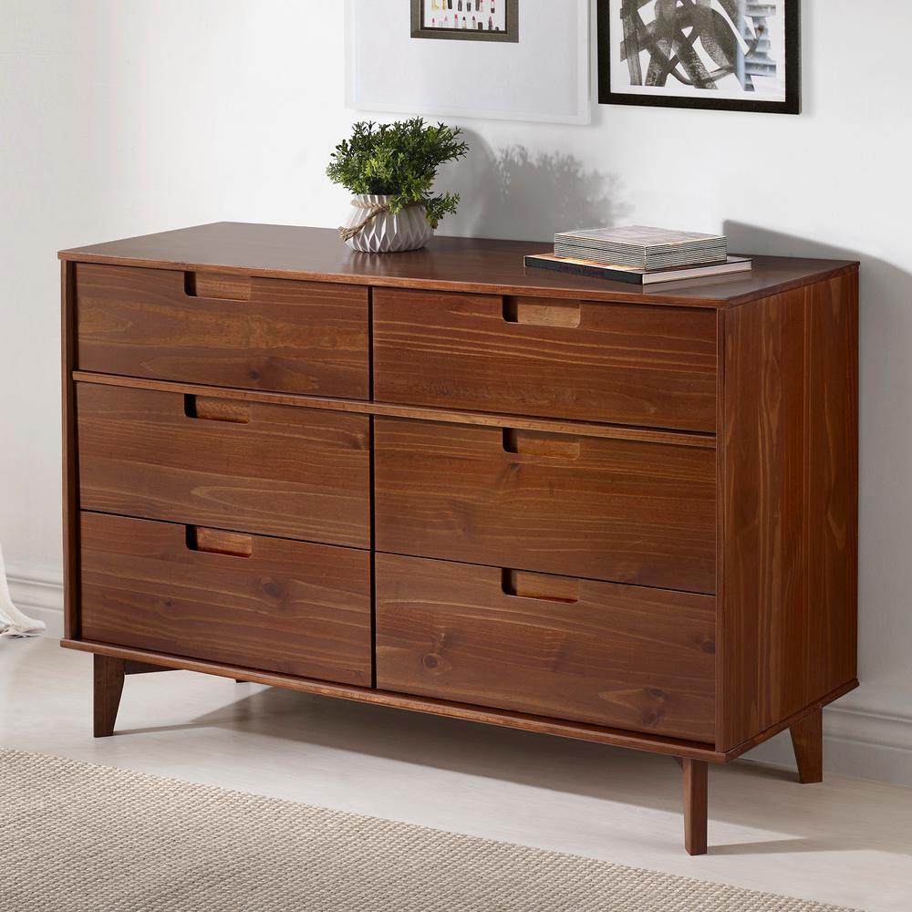 6-Drawer Walnut Mid Century Modern Wood Dresser