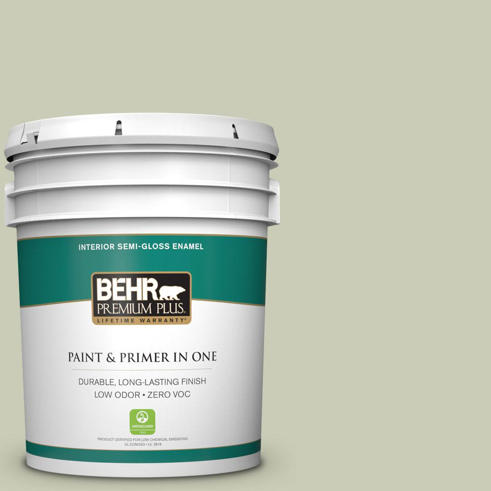 BEHR Premium Plus 5-gal. #BIC-13 Chilled Cucumber Semi-Gloss Enamel Interior Paint