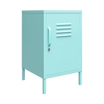 Cache 27.14 in. Mint Metal Locker End Table