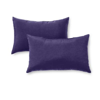 Solid Navy Blue Lumbar Outdoor Throw Pillow (2-Pack)