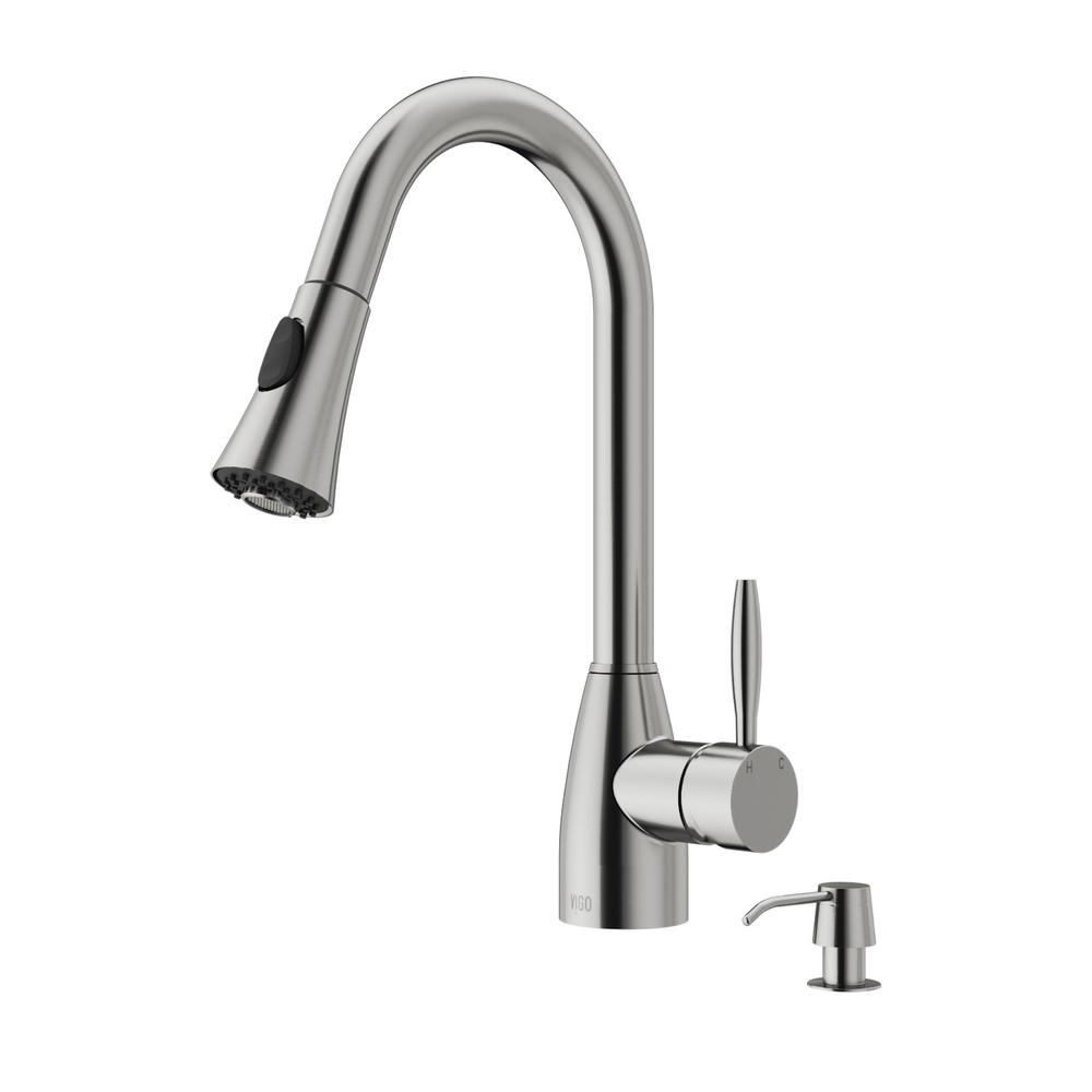Aylesbury Single-Handle Pull-Down Sprayer Kitchen Faucet with Soap Dispenser in