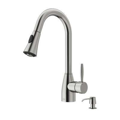 Aylesbury Single-Handle Pull-Down Sprayer Kitchen Faucet with Soap Dispenser in Stainless Steel