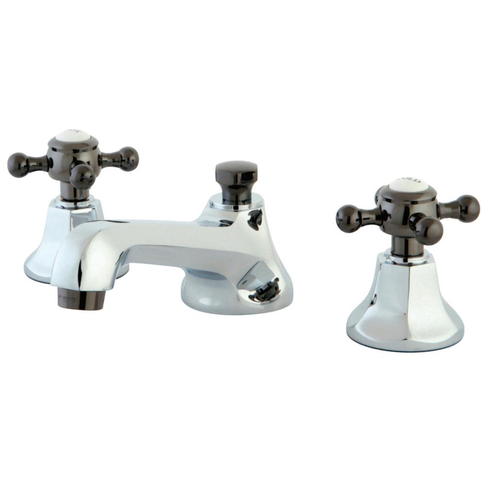 Kate 8 in. Widespread 2-Handle Cross-Handles Bathroom Faucet in Chrome and