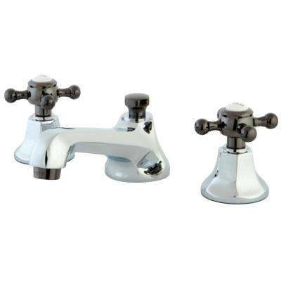 Kate 8 in. Widespread 2-Handle Cross-Handles Bathroom Faucet in Chrome and Black