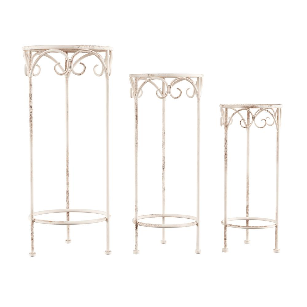 Pure Garden Antique White Metal Decorative Round Nesting Plant Stands Set Of 3 Hw1500193 The Home Depot