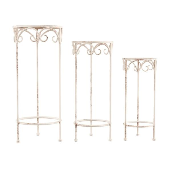 Antique White Metal Decorative Round Nesting Plant Stands (Set of 3)