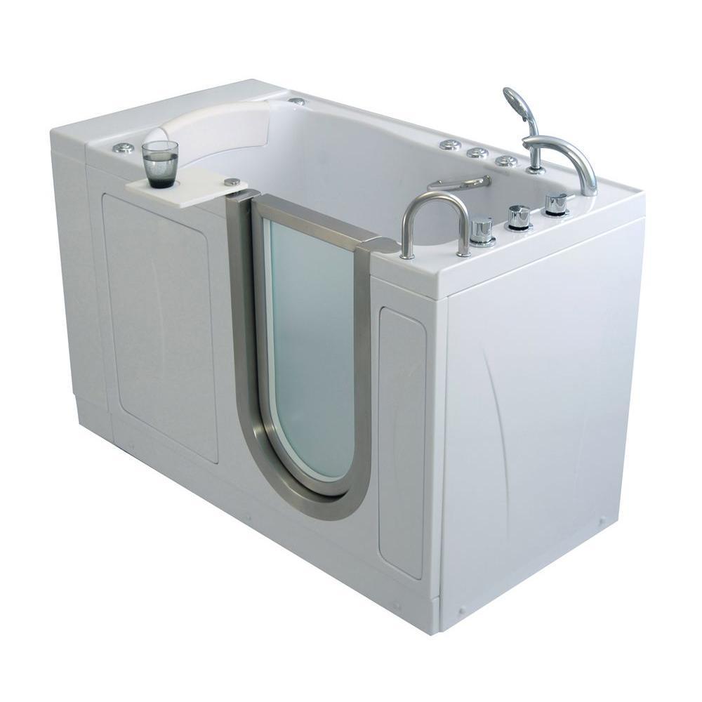 Elite Acrylic 52 in. MicroBubble Walk-In Air Bath Tub in White with RHS 2 in. Dual Drain