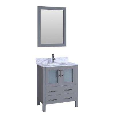30 in. W Single Bath Vanity with Carrara Marble Vanity Top in Gray with White Basin and Mirror
