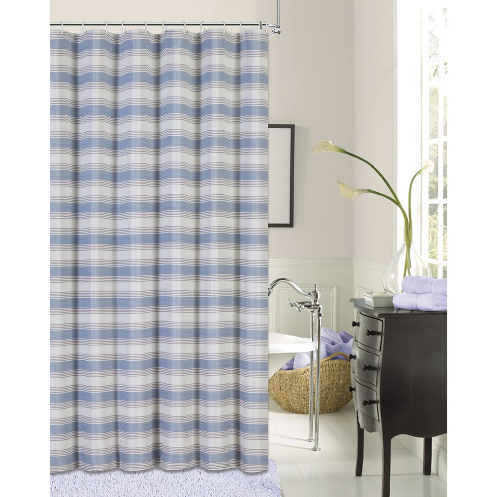 Blended Silk 72 in. Blue Stripe Fabric Shower Curtain