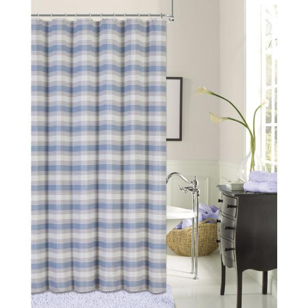 Dainty Home Blended Silk 72 in. Blue Stripe Fabric Shower Curtain