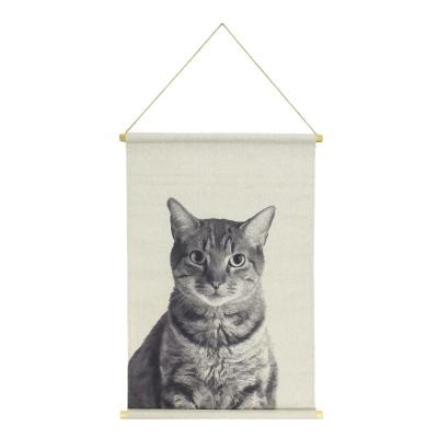 Cat Hanging Linen Black Wall Tapestry
