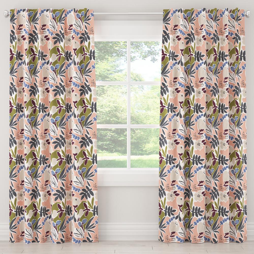 Skyline Furniture 50 in. W x 120 in. L Blackout Curtain in Parker Floral Peach