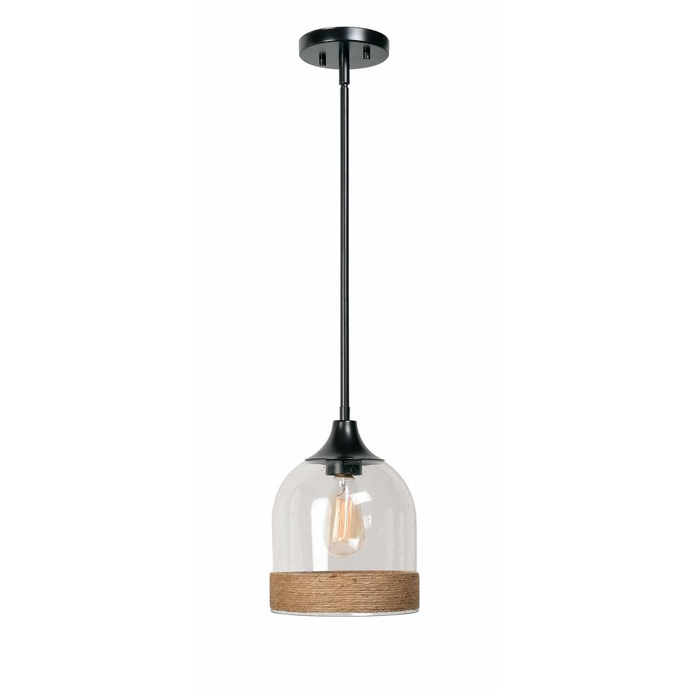 Home Decorators Collection 1 Light Oil Rubbed Bronze Pendant with Rope and Clear Seeded Glass