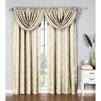 Dawson Shimmering Leaf 19 in. W x 44 in. L Waterfall Window Valance in Ivory