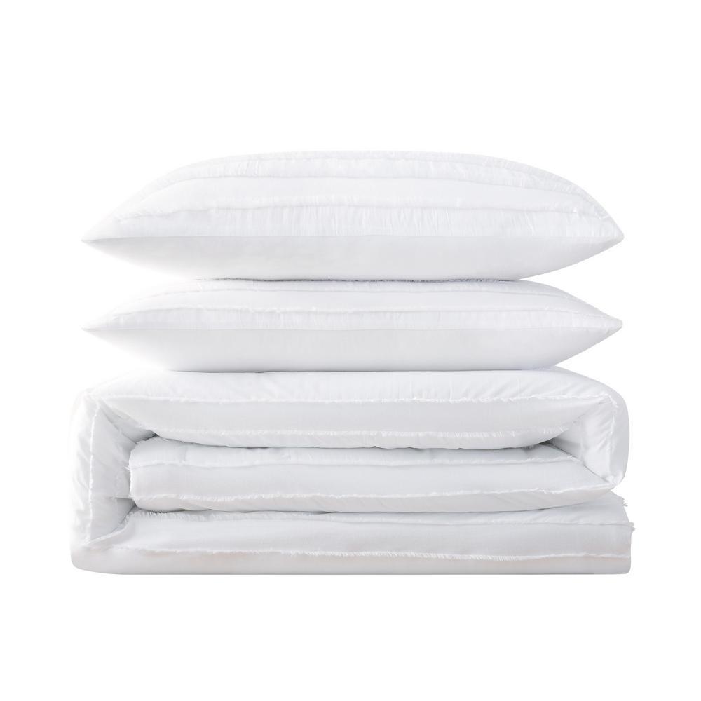 Carlisle Stripe 3-Piece White Full/Queen Comforter Set