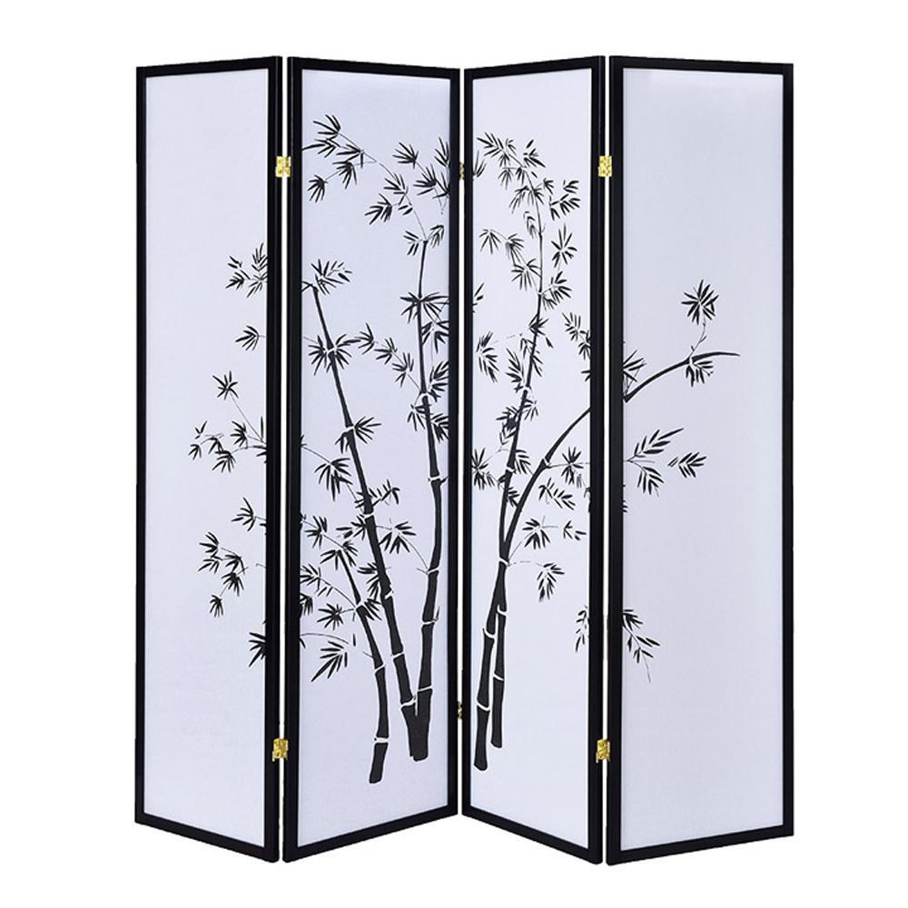 Bamboo Shoji Screen 6 ft. Black 4-Panel Room Divider